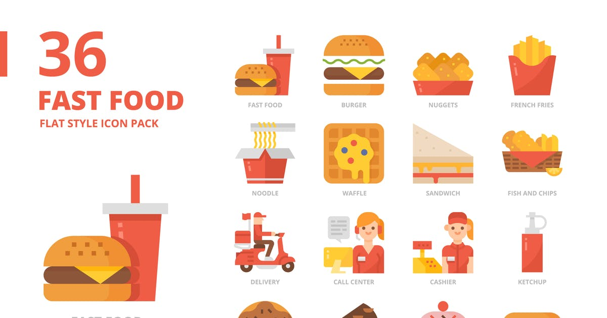 Download Fast food Flat Style Icon Set by monkik