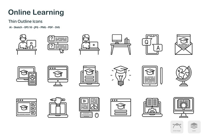 Thumbnail for Online learning thin outline icons