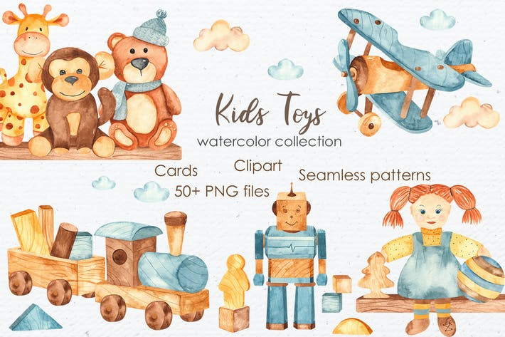 Thumbnail for Watercolor kids toys. Clipart, cards, patterns