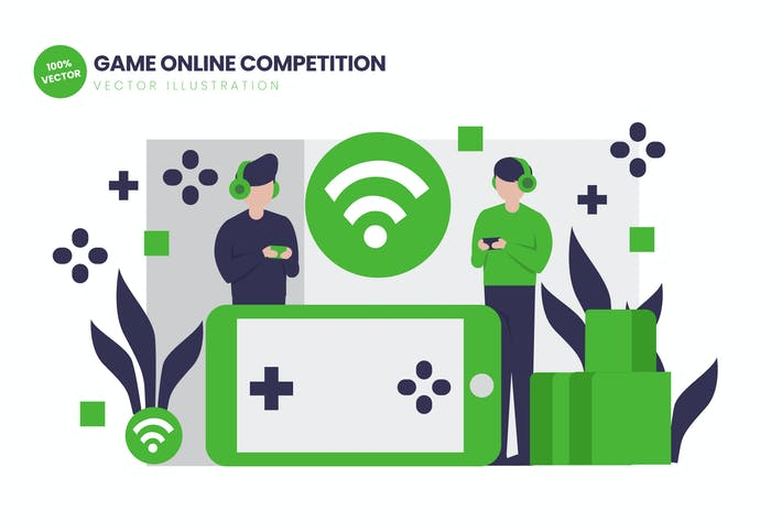 Thumbnail for Game Online Competition Flat Vector Illustration