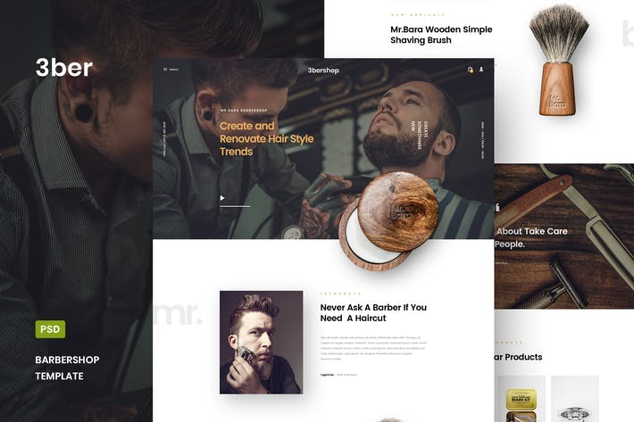 Thumbnail for 3bershop - Barbershop Website PSD Template