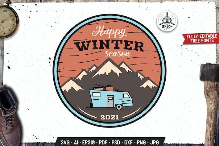 Thumbnail for Happy Winter Season Emblem Logo SVG. Retro Design