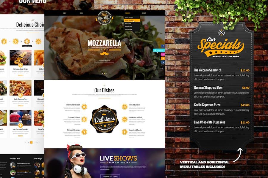 Mozzarella Cafe Bar PSD Template