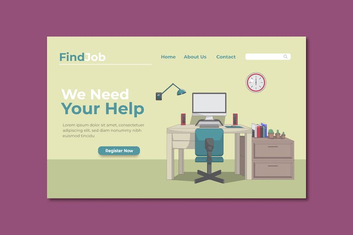 Thumbnail for Find Job Online Landing Page Illustration