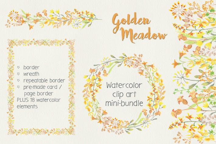 Thumbnail for Golden Meadow: Watercolor Clip Art Mini Bundle
