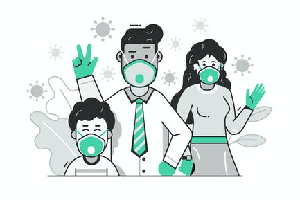 Family with Face Masks Virus Prevention Concept