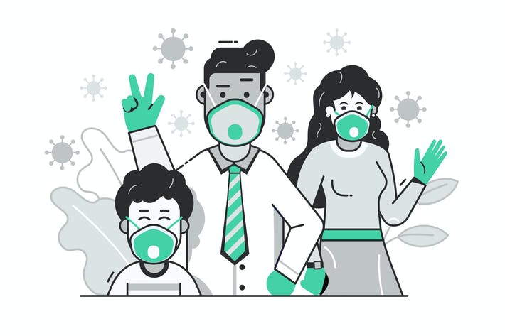 Thumbnail for Family with Face Masks Virus Prevention Concept