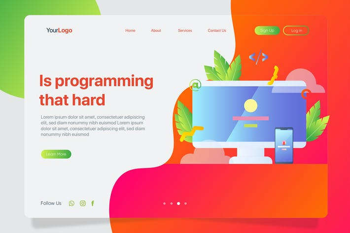 Thumbnail for Programming Hard - Banner & Landing Page