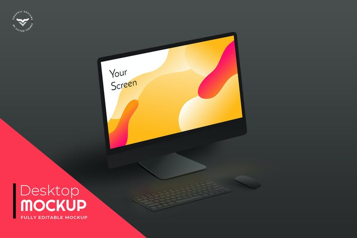 Thumbnail for Desktop Mockups Black