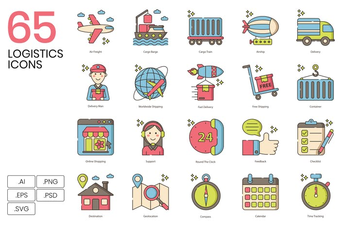 Thumbnail for 65 Logistics Line Icons