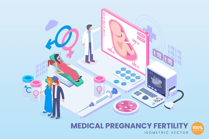 Thumbnail for Isometric Medical Pregnancy Fertility Concept