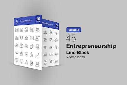 45 Entrepreneurship Line Icons
