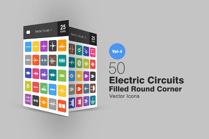 Thumbnail for 50 электрических цепей плоские круглые угловые Иконки