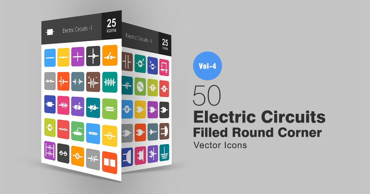 Download 50 Electric Circuits Flat Round Corner Icons by IconBunny