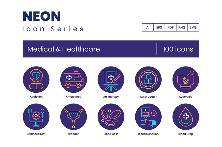 Thumbnail for 100 Medical & Healthcare Line Icons