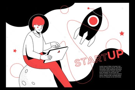 Startup - modern flat design style web banner