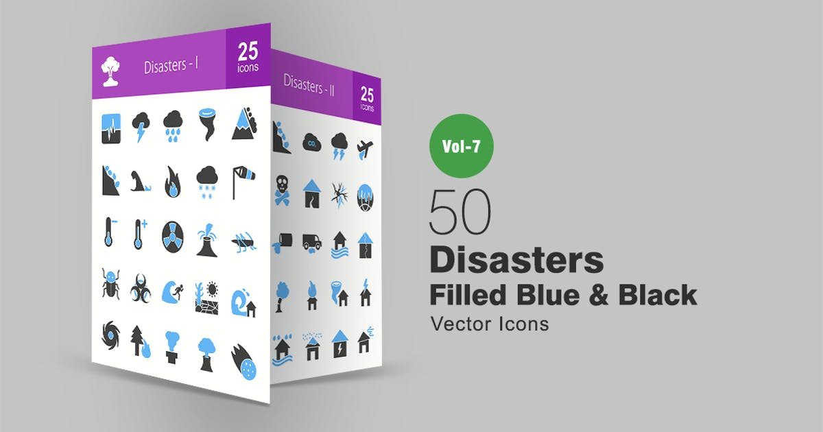 Download 50 Disasters Blue & Black Icons by IconBunny