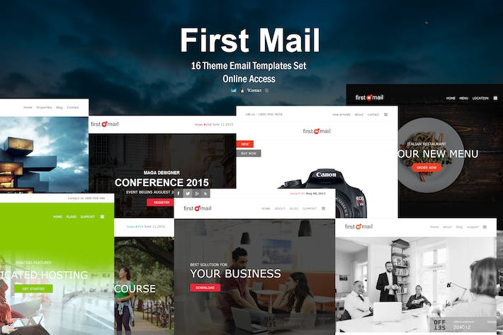 Thumbnail for First Mail - 16 Unique Theme Email Templates Set