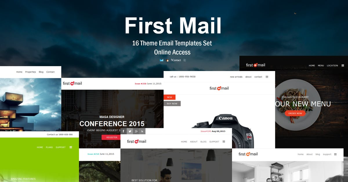 Download First Mail - 16 Unique Theme Email Templates Set by williamdavidoff