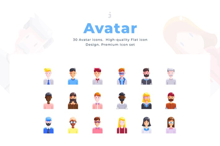 Thumbnail for 30 Avatar Icon set - Flat