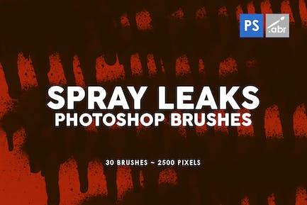 30 Spray Leaks Photoshop Stamp Brushes
