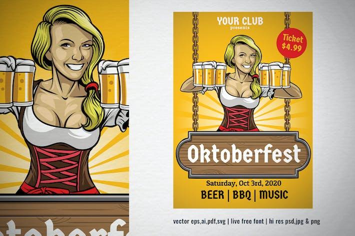 bavarian girl of oktoberfest vector illustration