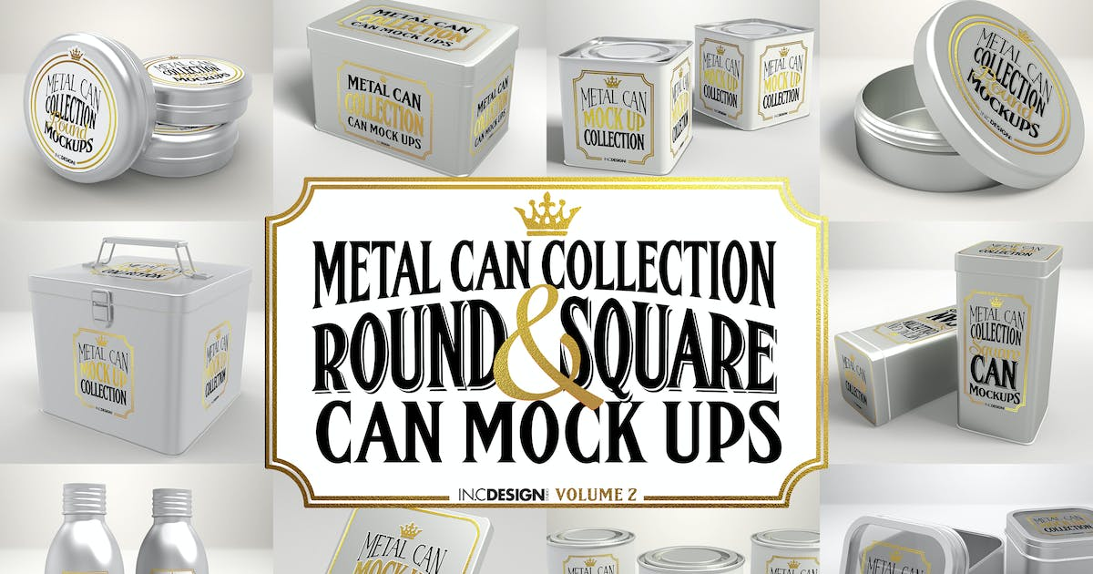 Download Vol. 2 Metal Can Mockup Collection by ina717