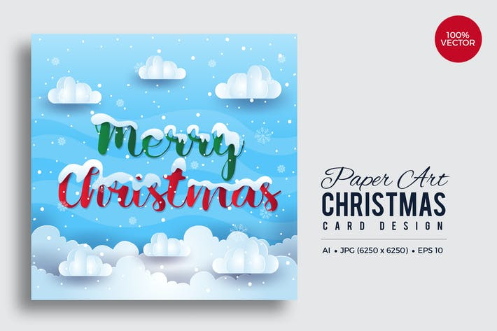 Thumbnail for Merry Christmas Square Vector Card Vol.16