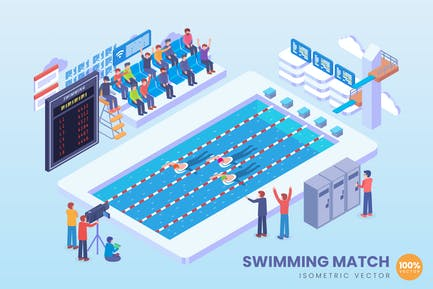 Isometric Swimming Match Vector Concept