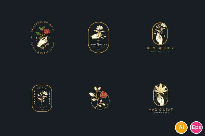 Thumbnail for Elegant Floral Botanical Hand Logos Vol.1
