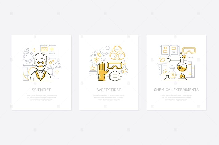 Thumbnail for Chemistry concept - line design style banners set