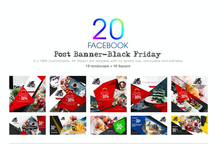 Thumbnail for 20 Facebook Post Banner Black Friday