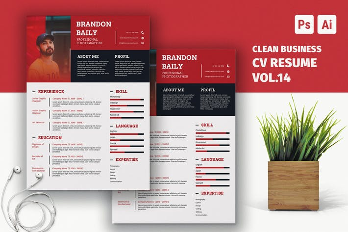 Cover Image For Resume CV Template Vol. 14