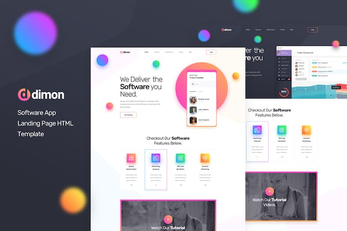 Thumbnail for Dimon - Software App Landing Page HTML Template