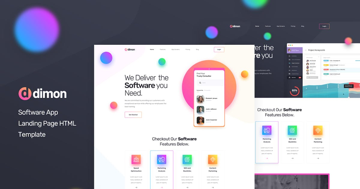 Download Dimon - Software App Landing Page HTML Template by Layerdrops
