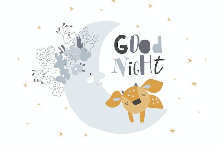 Thumbnail for Niedliches Reh schläft auf dem Mond unter den Sternen.  Vektor
