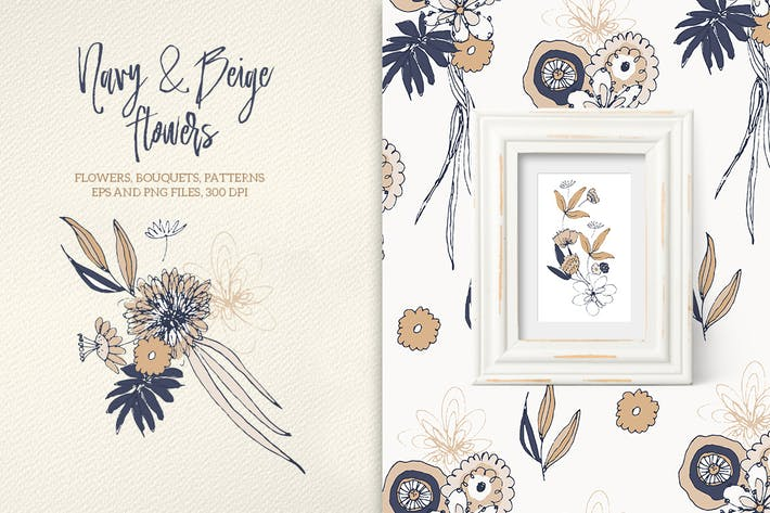 Thumbnail for Navy and Beige Flowers