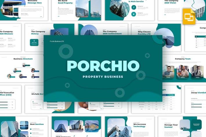 Thumbnail for Porchio - Propriedade Negócios Google Slides Modelo