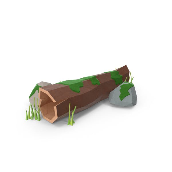 Low Poly Log with Rocks