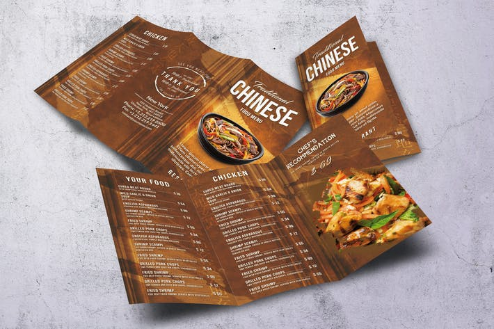 Thumbnail for Chinese A4 & US Letter Trifold Food Menu V2