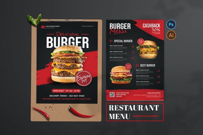 Délicieux Burger — Design de menu alimentaire