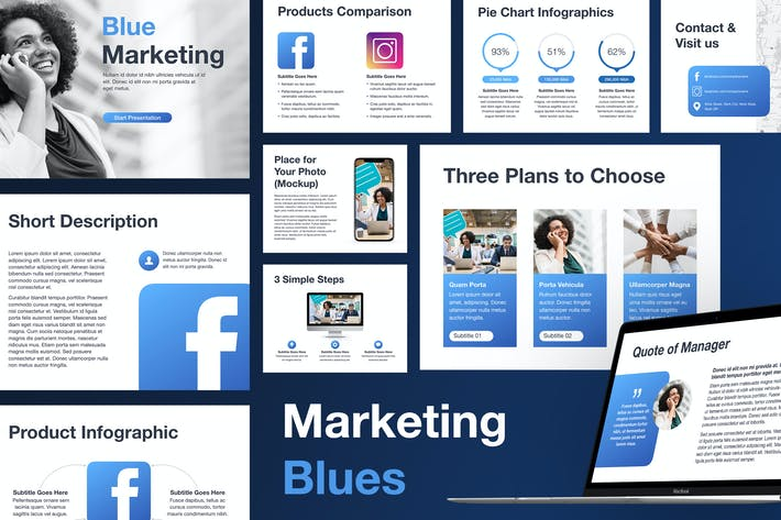 Thumbnail for Marketing Blues Keynote Vorlage