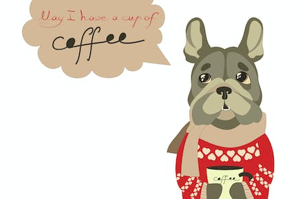 Sad little dog begging for cup of coffee