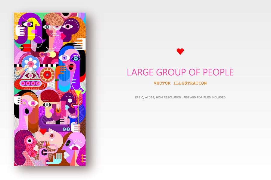 Большая группа людей вектор произведения искусства