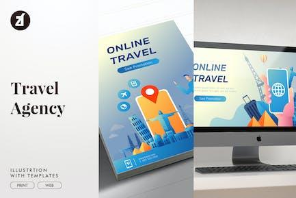 Ilustración de Agencia de viajes con diseño de texto