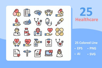 25 Healthcare Icons ( Colored Line )