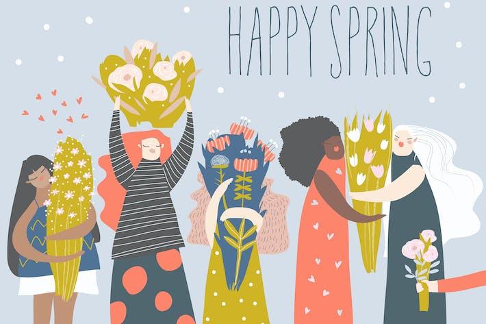 Thumbnail for Симпатичные женщины мультфильм с букетами цветов.