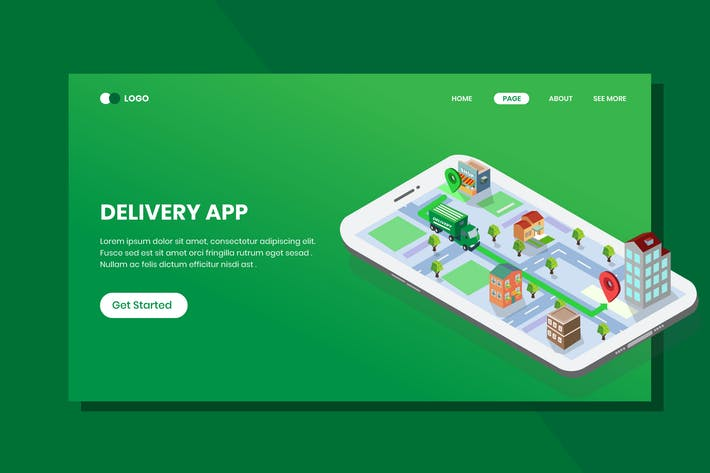 Thumbnail for Delivery Application Isometric Banner Template