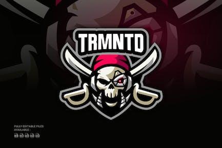 Pirate Skull Robot Sports and E-sports Logo