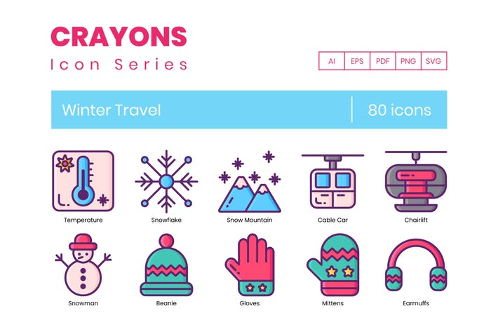 Thumbnail for 80 Winter Travel Line Icons